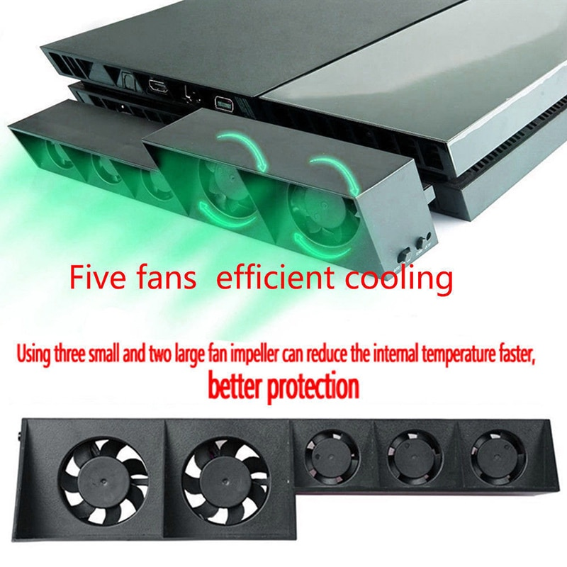 For PS4 Console Cooler Cooling Fan For PS4 USB External 5-Fan Super Turbo Temperature Control For Playstation 4 Console