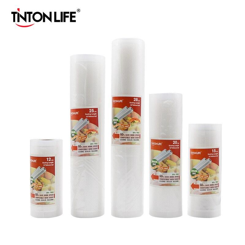 TINTON LIFE vacuum bags for food Vacuum Sealer Food Fresh Long Keeping 12+15+20+25+28cm*500cm Rolls/Lot bags for vacuum packer