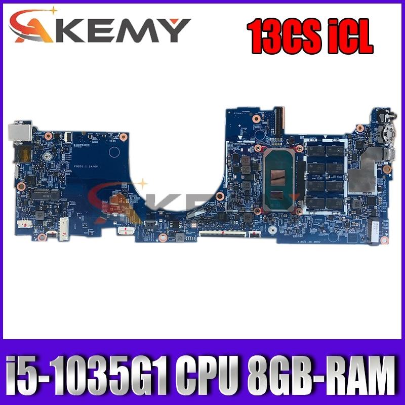 Akemy 19728-1 13CS iCL للوحة الأم كمبيوتر محمول HP Mianboard ث/i5-1035G1 وحدة المعالجة المركزية + 8GB-RAM UMA