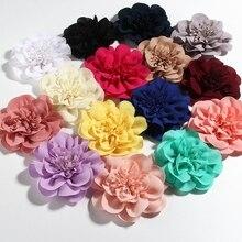 """1 pieza 10CM 3,8 """"grandes nuevas flores de gasa con pinzas para el cabello para niñas cabeza de Niños Accesorios girasol flor hecha a mano para tela"""