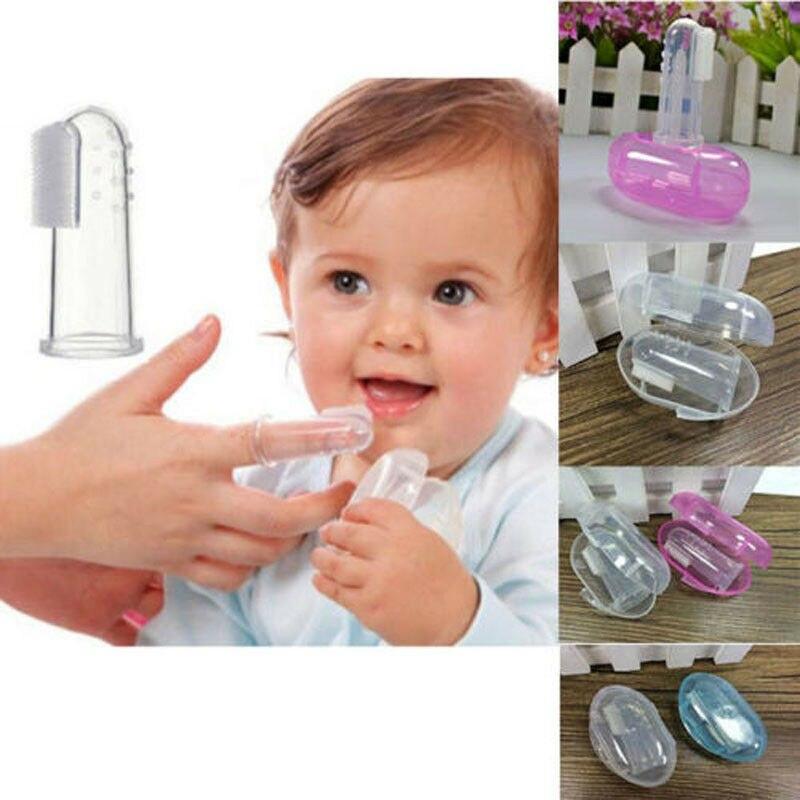 2019 Acessórios Do Bebê Recém-nascido Da Criança Do Bebê Conveniente Durável escova de Dentes Portátil Com Caso 1PCS Conjunto Dedo Escova de Trem