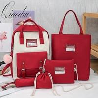 Qiaoduo 2020 female backpack 5 Piece Set High School Bags for Teenage Girls canvas shoulder bag Women Bookbags Student Schoolbag