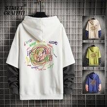 Men Casual Sweatshirts Hoodie Harajuku Vintage Painted Style Splicing Hip Hop Creativity Streetwear