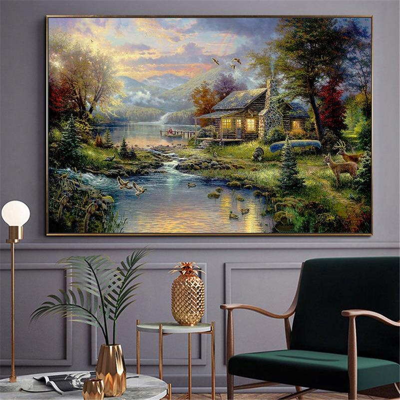 Farmhouse Poster Nature Modern Thomas Kinkade Landscape Oil Painting Canvas Prints Home Decoration Maison Mountain Lake Art