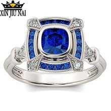 Anillo circular hueco de epoxi azul 925 Plata azul cristal Cz anillo de boda para mujeres dedo nupcial joyería India anillo de zafiro