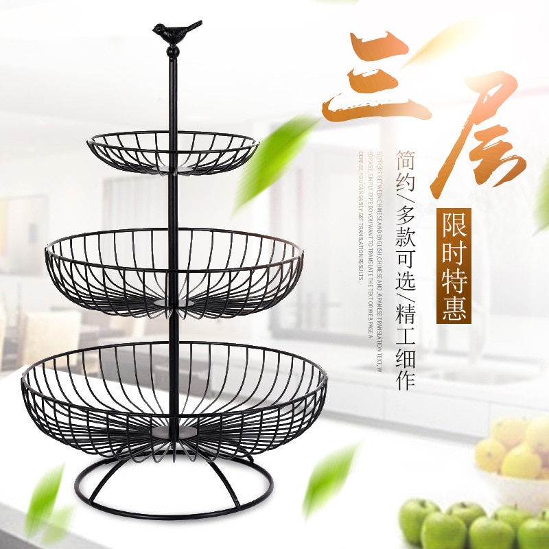 الشمال غرفة المعيشة الحديثة الإبداعية الحديد المطاوع سلة فاكهة المنزلية ثلاثة طبقة صينية للفاكهة المجففة صينية للفاكهة سلة التخزين