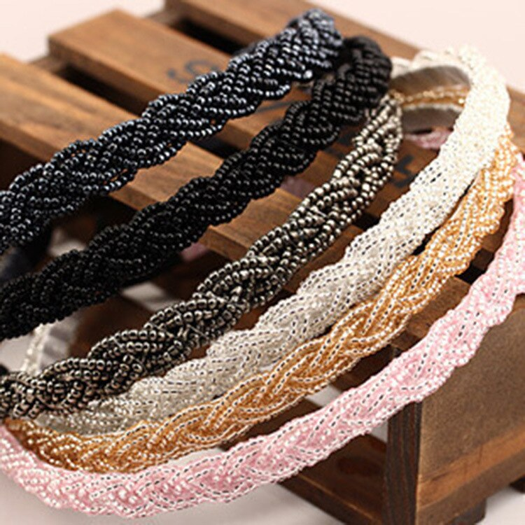 1PCS NEW 9Colour Beaded Twist Weaving Women's Hair Hoop Small Pearl Wide Female Head Bands Jewelry H