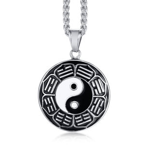 Classic Stainless Steel Epoxy Chinese Style Yin Yang Circle Metal Tag Pendant Necklace Tai Chi  Bagua Pendant Necklace Jewelry