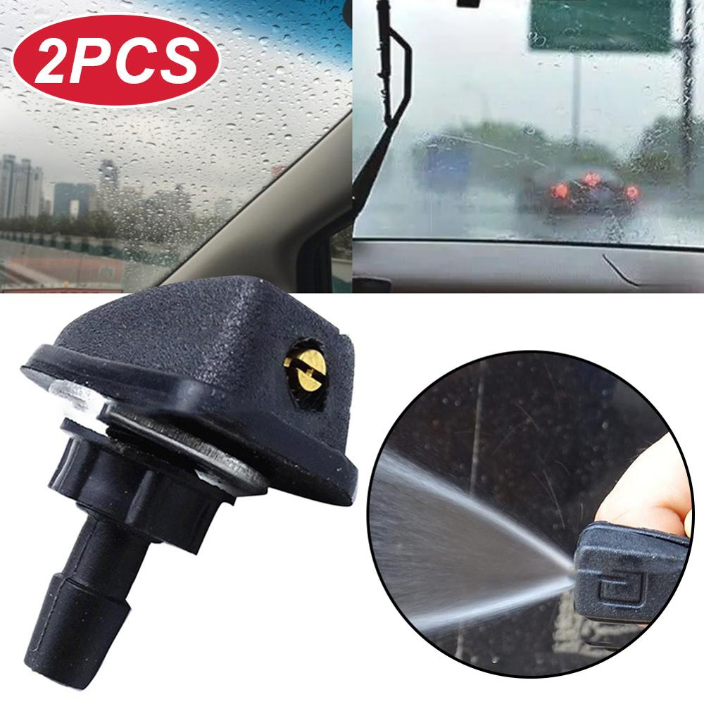 2Pcs Washer Nozzles Universal Car Windscreen Water Fan Spout Jet Cover Front Windshield Washer Outlet Wiper Nozzle Adjustment