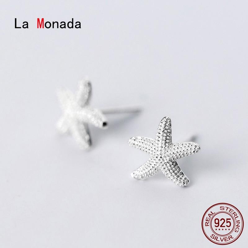 Серьги-гвоздики-la-monada-женские-корейские-украшения-в-виде-звезд-и-морских-звезд-минималистичные-серебряные-сережки-гвоздики-925
