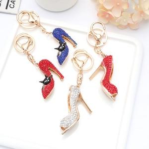 Fashion Cat Shoes Bag Handbag Pendant European And American Diamond High Heels Metal Key Ring Custom Car Accessories Small Gift