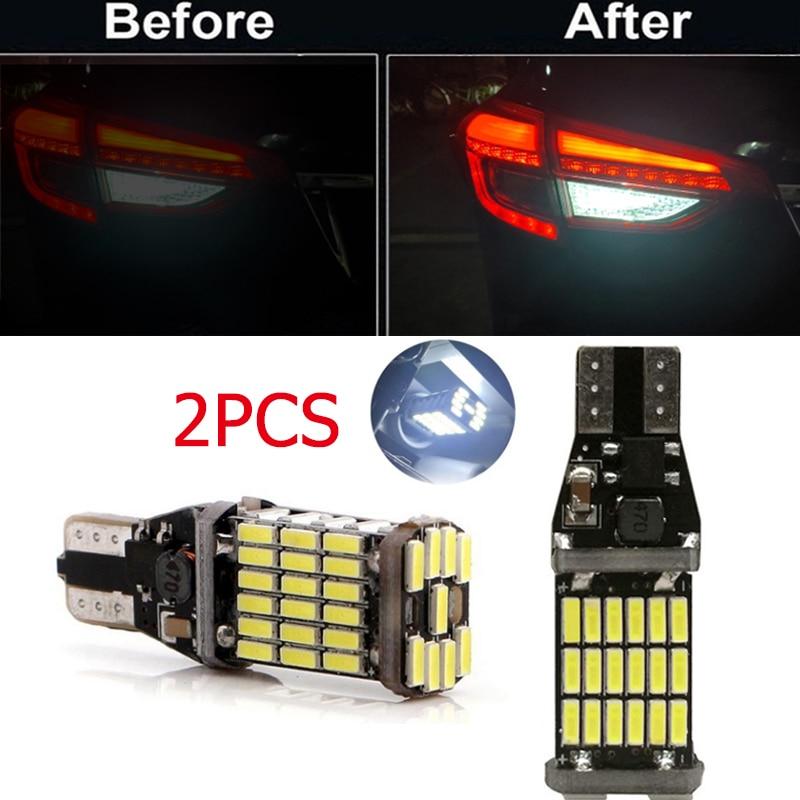 AliExpress - 2Pcs High Power Auto Bulb White DC 12V Car Reverse Back Light T15 W16W 45 SMD 4014  Turn Signal Lamp LED Canbus