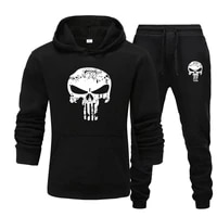 2 pieces sets tracksuit men skull brand autumn winter hooded sweatshirt drawstring pants male sport hoodies running sportswear
