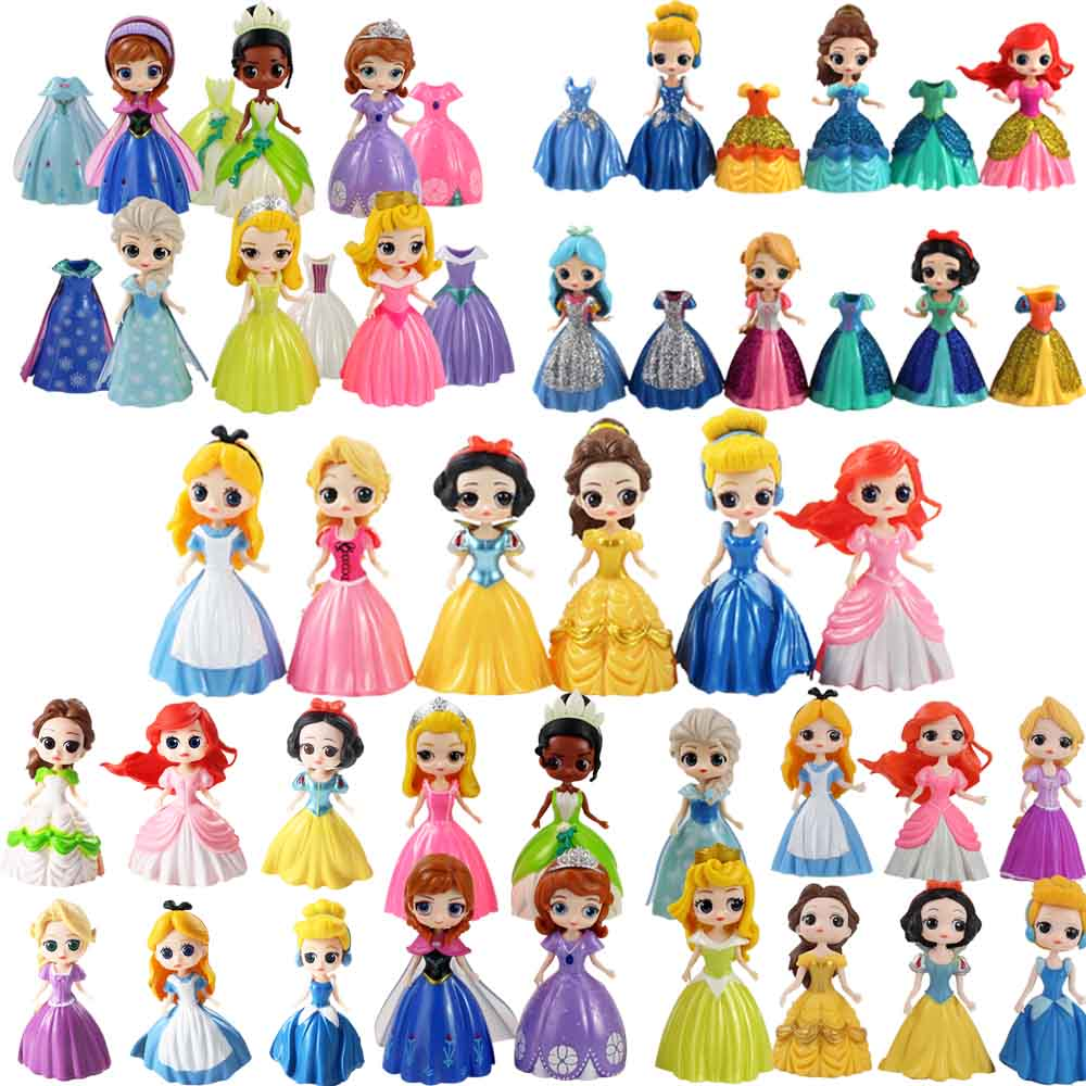 6pcs/lot Magic Clip Princess Figures Q Posket Magiclip Dress Snow White Tangled Sleeping Beauty PVC