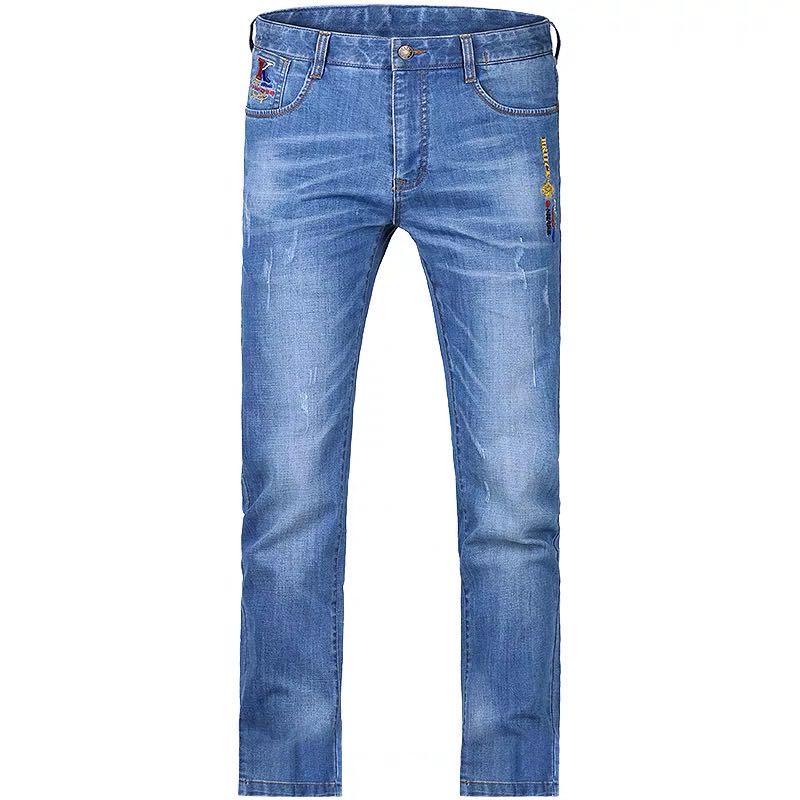 Nuevos pantalones vaqueros hombre moda Casual alta calidad bordado pierna recta fino suavizante estiramiento algodón talla grande 28 a 42 8262