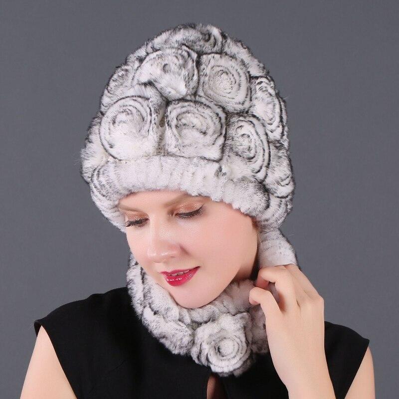 موضة فتاة الفراء قبعة سيدة الشتاء الطبيعي ريال ريكس قبعة فرو أرنب وشاح جناح عالية الجودة النساء 100% الفراء الحقيقي