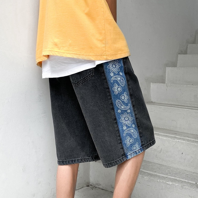 HYBSKR Men's Shorts 2021 Summer New Cashew Patchwork  Male Shorts Straight Hip Hop Shorts For Man Loose Casual Streetwear