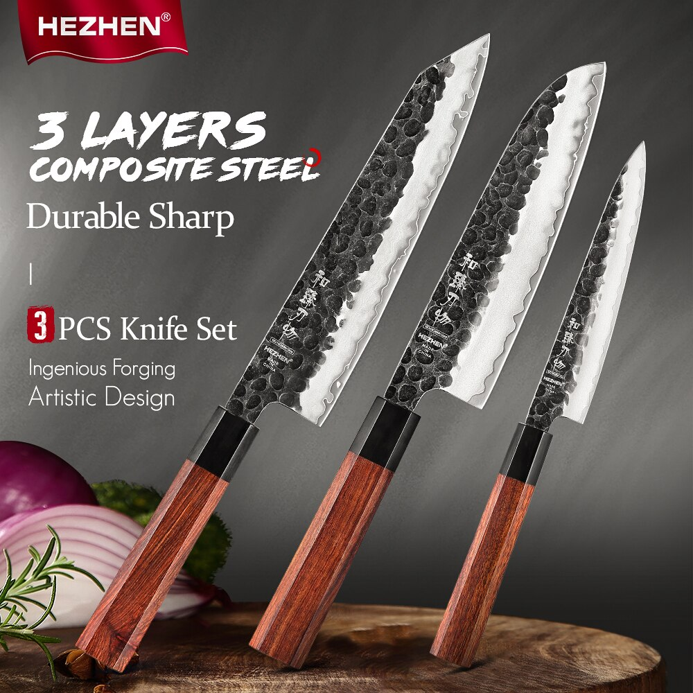 HEZHEN 1-3 قطعة طقم السكاكين الشيف فائدة الفولاذ المقاوم للصدأ شارب كوك السكاكين أدوات صندوق هدية جميلة شريحة سكاكين المطبخ