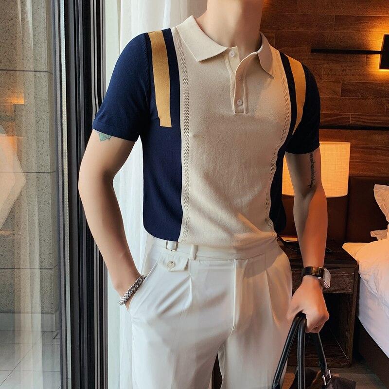 النمط البريطاني حجم كبير الصيف محبوك قميص بولو الرجال الملابس 2021 موضة التباين الألوان سليم صالح عادية تي شيرت أوم 4XL