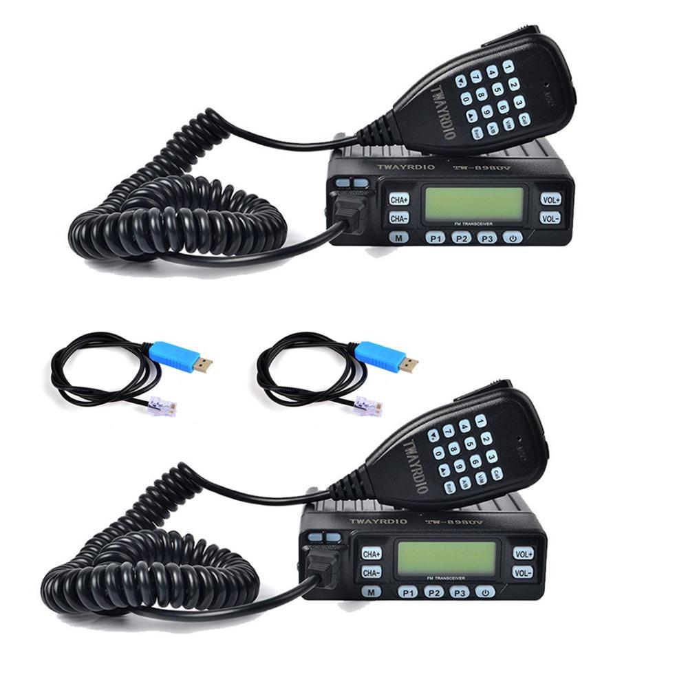 2 uds TWAYRDIO 25W Radio VHF/UHF 144/430Mhz Amateur Mini Taxi jamón coche móvil de Radio de transceptor FM