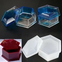 1pc hexagon storage box epoxy mould with lid gift storage box crystal diy handmade making table desktop decoration silicone mold