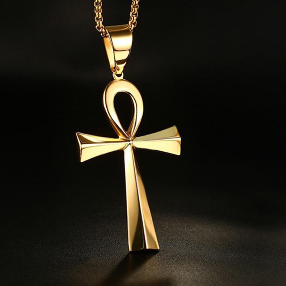 Золотая подвеска из нержавеющей стали Anka Cross, египетский крест Anka, ювелирные изделия Фараона, подарок для женщин и мужчин