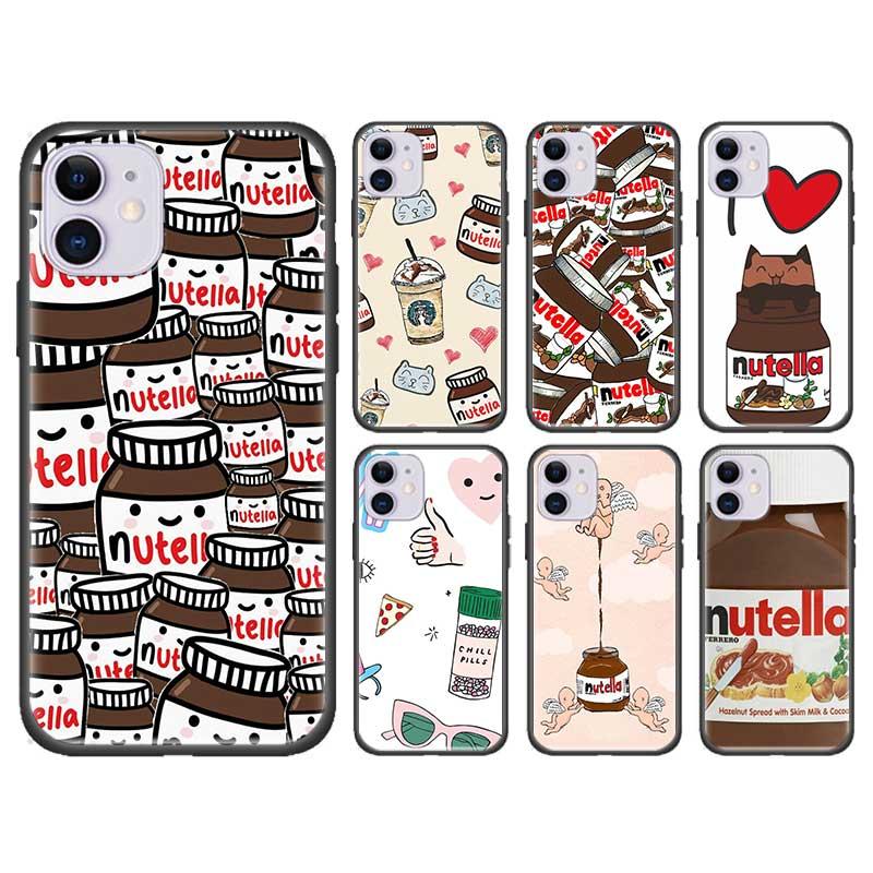 Schüttelfrost Pillen Schokolade Nutella Abdeckung Für Apple iPhone 11 7 8 XS Max X XR 6 6S Plus 5 5S SE 2020 Schwarz Silikon Fall Fundas Capa