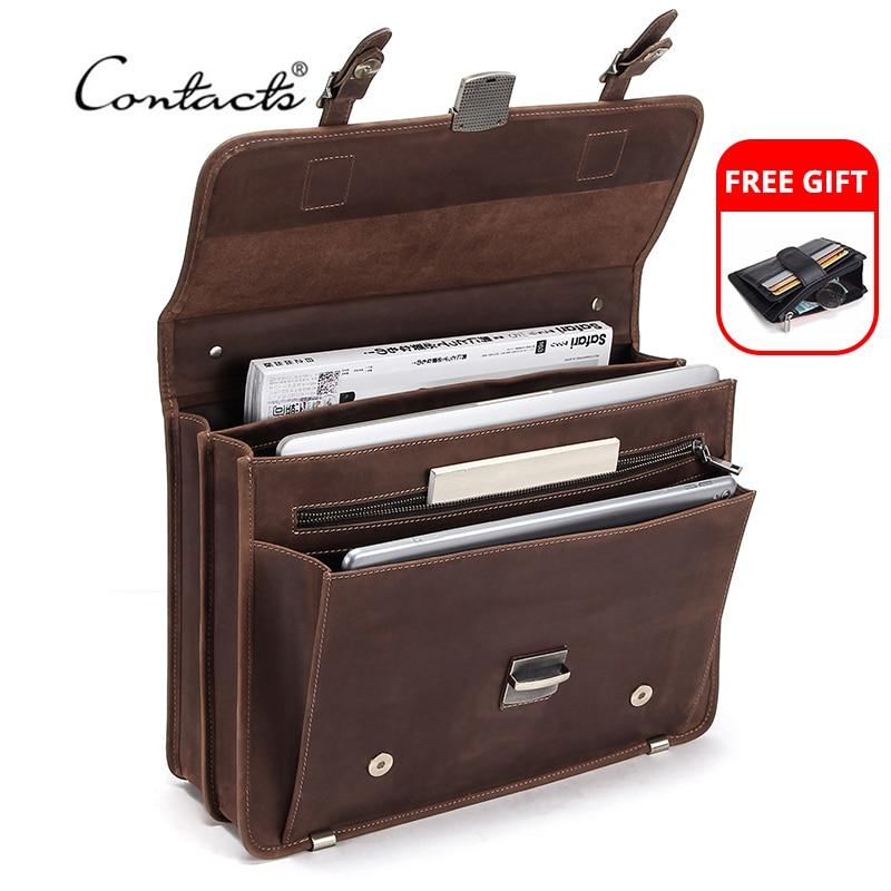 CONTACT'S-حقيبة جلدية ريترو للرجال ، حقيبة كمبيوتر محمول 14 بوصة ، حقيبة كتف للأعمال ، سعة كبيرة