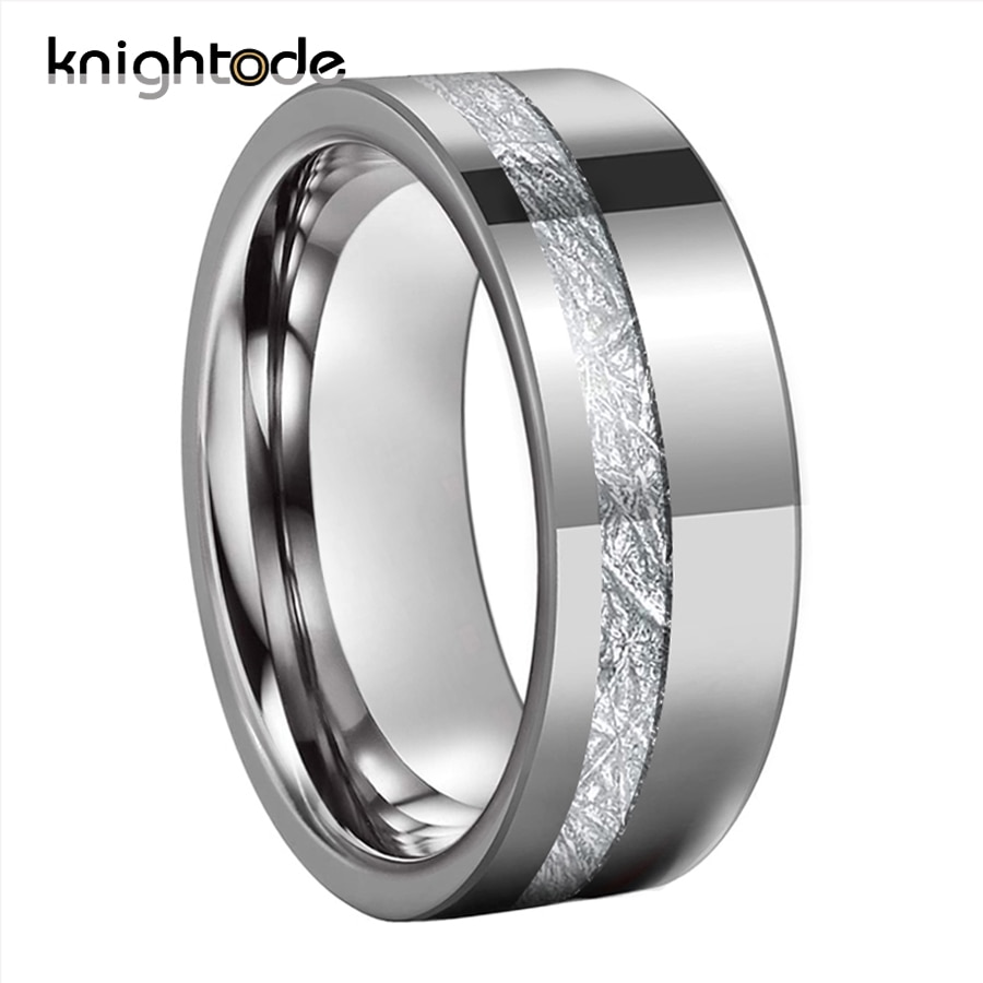 8mm Tungsten Carbide Rings Offset Groove White Meteorite Inlay For  Mens Womens Wedding Band Thumb Rings Flat Polished Finish