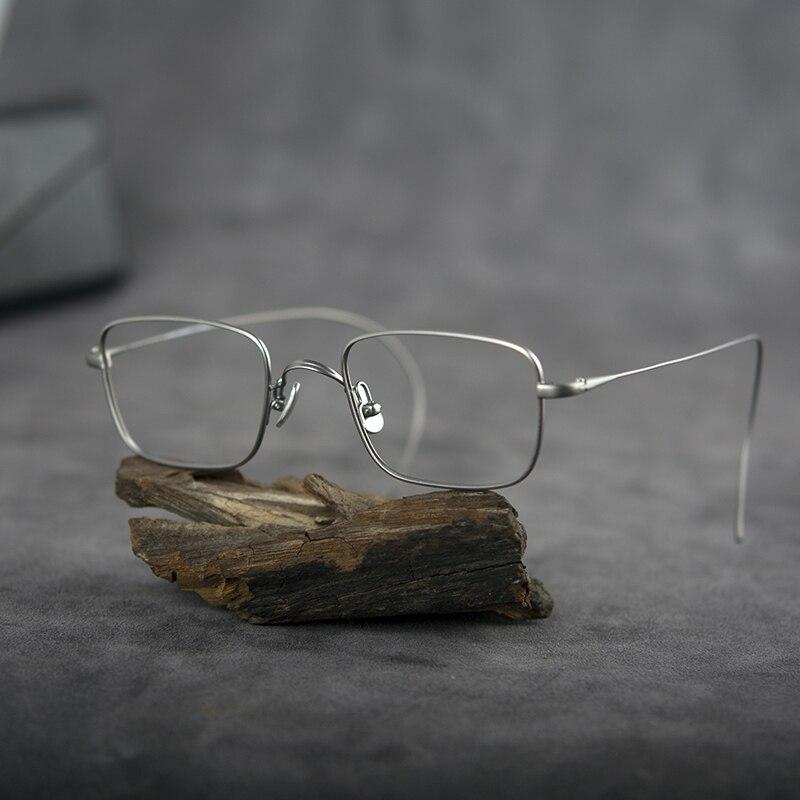 نظارات التيتانيوم للرجال والنساء ، إطار مربع الشكل ، ماركة فاخرة ، وصفة طبية ، قصر النظر ، إطار كابل