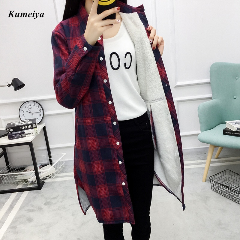 Brand New Winter Warm Blouse Women Velvet Thick Long Sleeve Plaid Shirt Female College Style Casual Outerwear Coats Quilted Grid