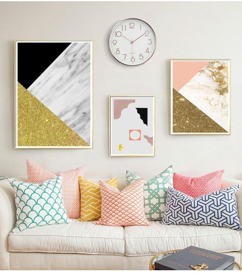 Geometría abstracta rosa y mármol dorado arte Collage lienzo pintura nórdica decoración fotos de decoración de habitación