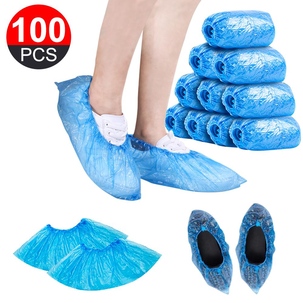 Factory Price Multipurpose 100Pcs/Set Waterproof Plastic Shoe Covers Rooms Disposable Wholesale Quick delivery Dropshipping