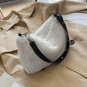 Fashion Solid Color Shoulder Underarm Bag Women Plush Soft Autumn Winter Fashion Fluffy Female Totes Handbag Lady Girl Travel