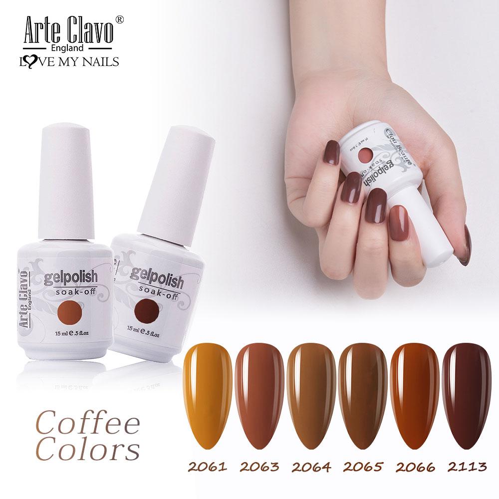Arte Clavo Chocolate Brown Series Coffee Caramel Colors 15ml UV Gel Nail Polish Lacquer Varnish LED Gel Nail Art Hybrid Soak Off недорого