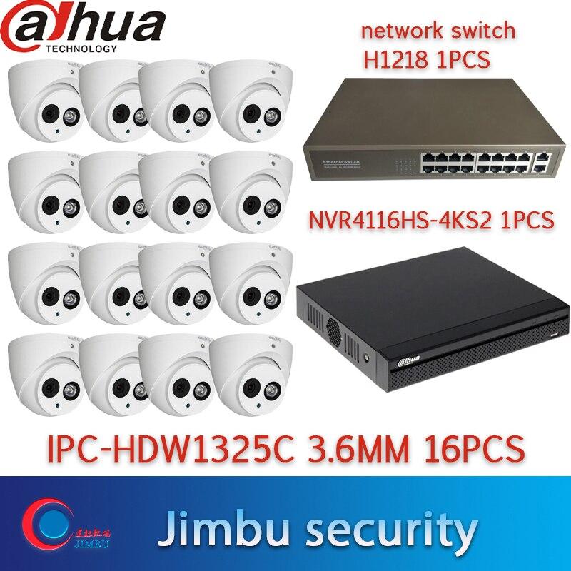 Dahua nvr kit sistema de cámaras de Seguridad 16 ch NVR 4K grabador 16ch NVR4116HS-4KS2 interruptor de red domecámara IPC-HDW1325C 3MP 16 Uds