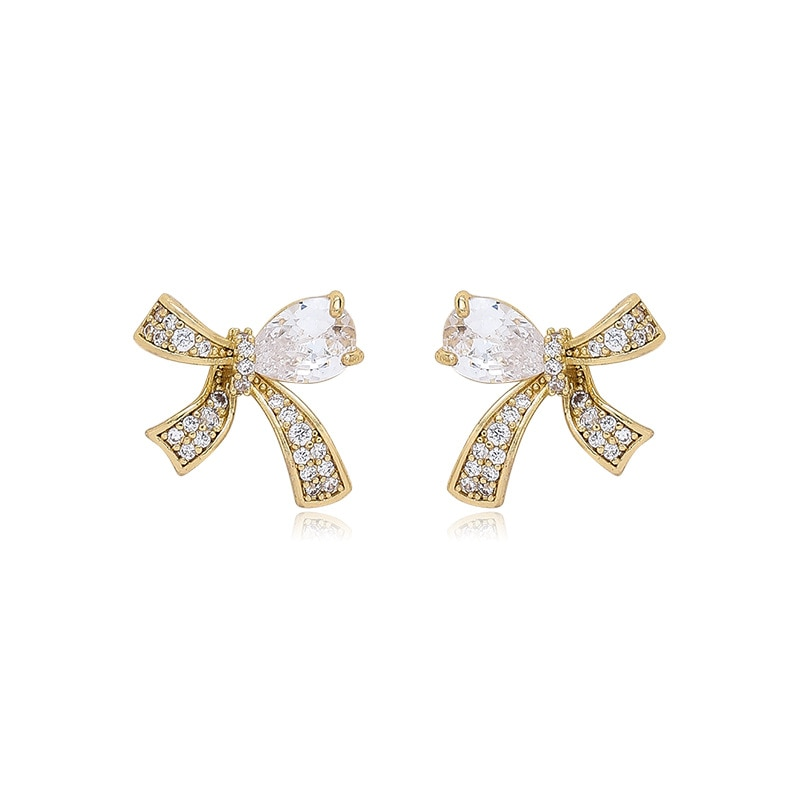 Romantic Full Bling Bling CZ Stone Bowknot Pendant Earrings for Women Ladies Gold Color Alloy Earrings Accessories Hot Sale