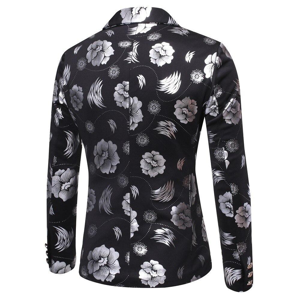 Men's fashion gold print dress blazer jacket