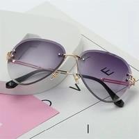 rimless sunglasses women brand designer sun glasses gradient shades cutting lens ladies frameless metal eyeglasses uv400