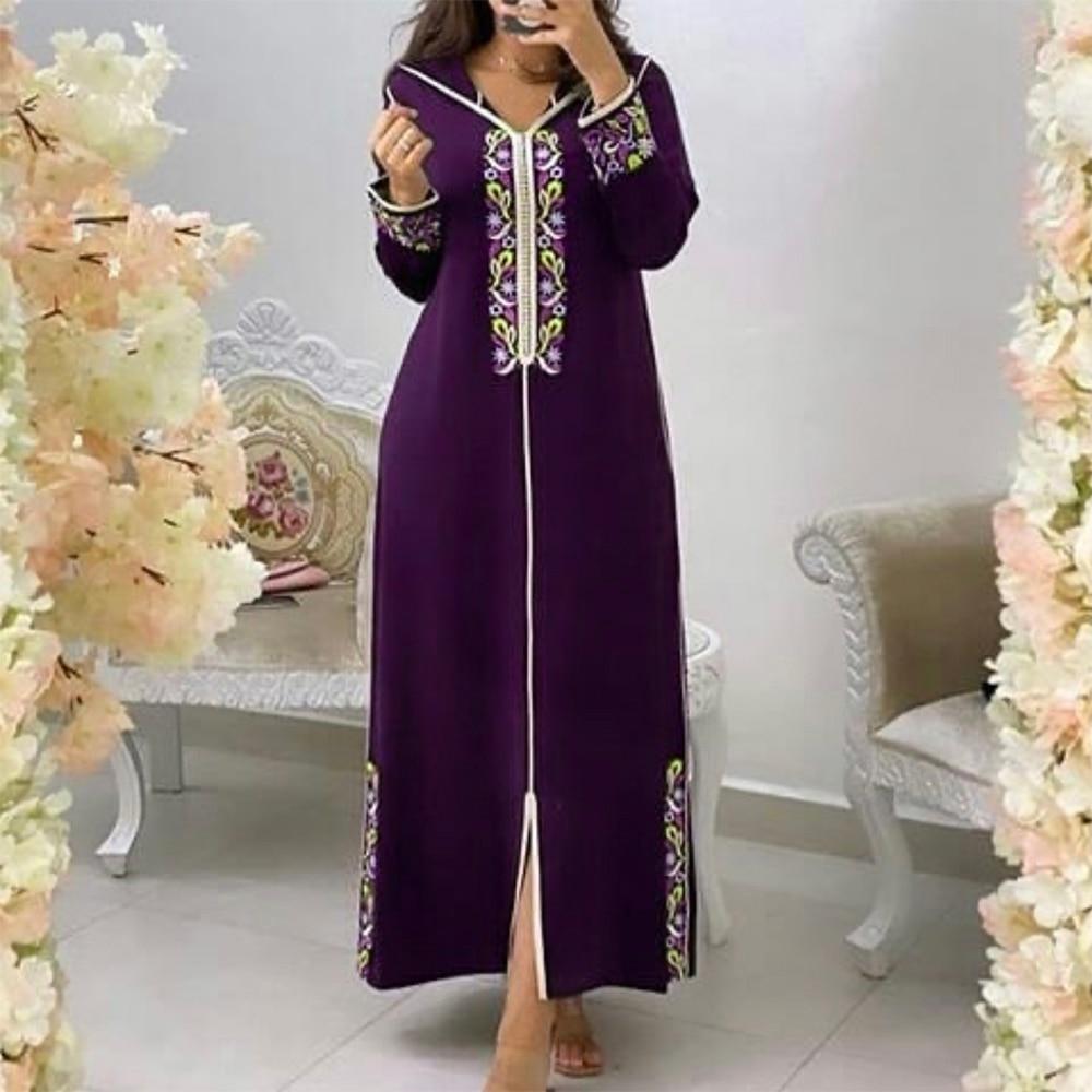 Женское платье с цветочной вышивкой Дубайский хиджаб длинный женский кафтан с капюшоном 2021 летние модные элегантные макси платья Jellaba Robe ...