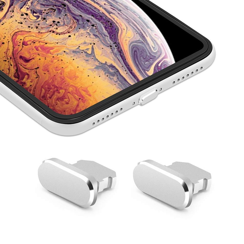 Colorful Metal Anti Dust Charger Dock Plug Stopper Cap Cover for iPhone X XR Max 8 7 6S Plus Mobile