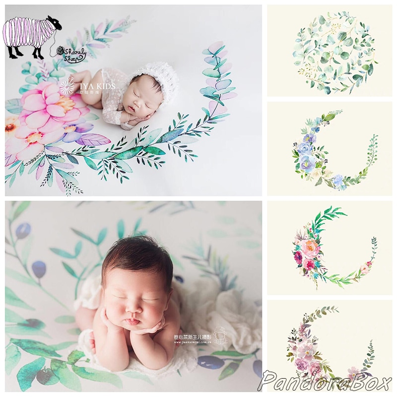 Watercolor Backdrops Newborn Photography Bean Bag Stretch Blanket Baby Photo Shoot Studio Posing Floral Background Photos Props