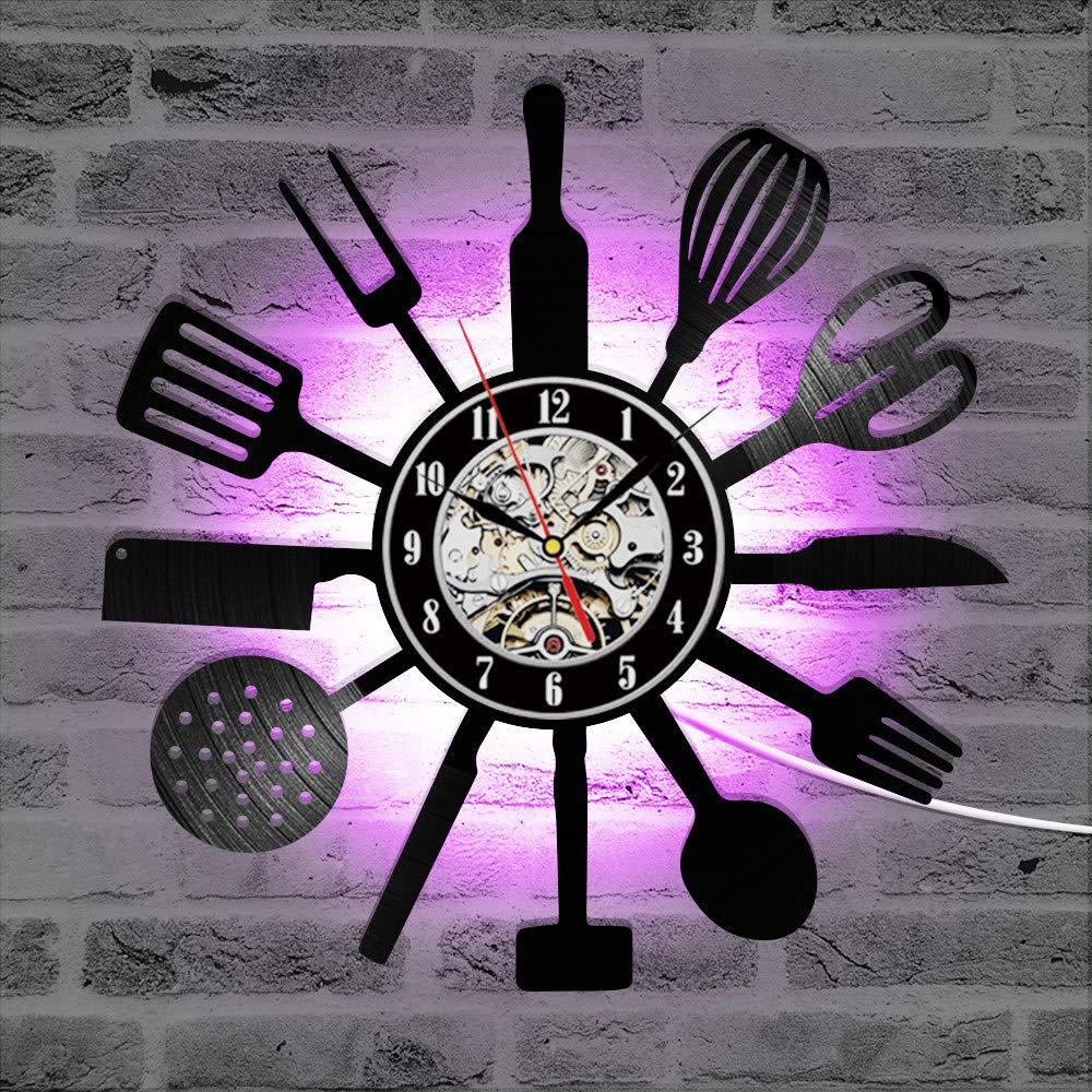 Reloj de pared con disco de vinilo para cocina, cronógrafo con cuchillo...