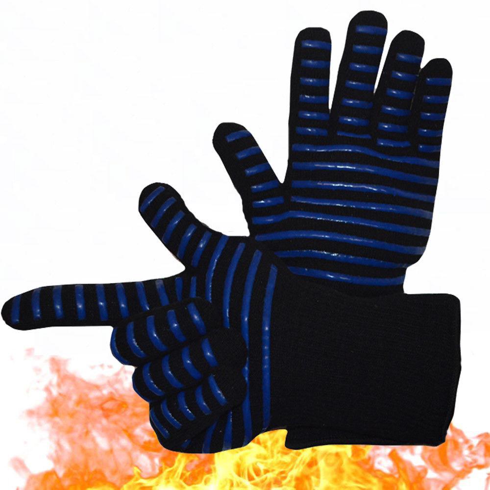 1PC de alta temperatura resistente 800 fuego de barbacoa guantes ignífugo antideslizante fuego parrilla aislamiento manoplas para horno o microondas