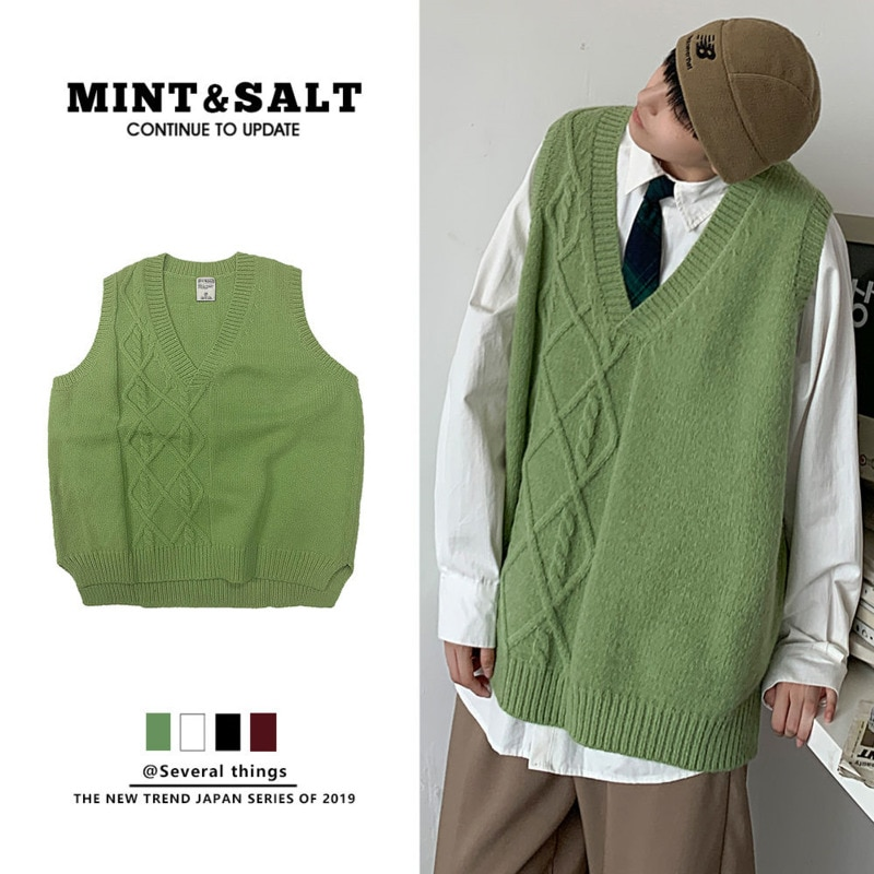 Korean Sweater Vest Men's Fashion Solid Color V-neck Knitted Pullover Men Streetwear Loose Autumn  Knitting Sweaters Mens