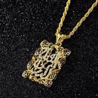 new arab islamic style pendant necklace for women sweater chain muslim scripture inlaid gold plated necklace pendant accessories