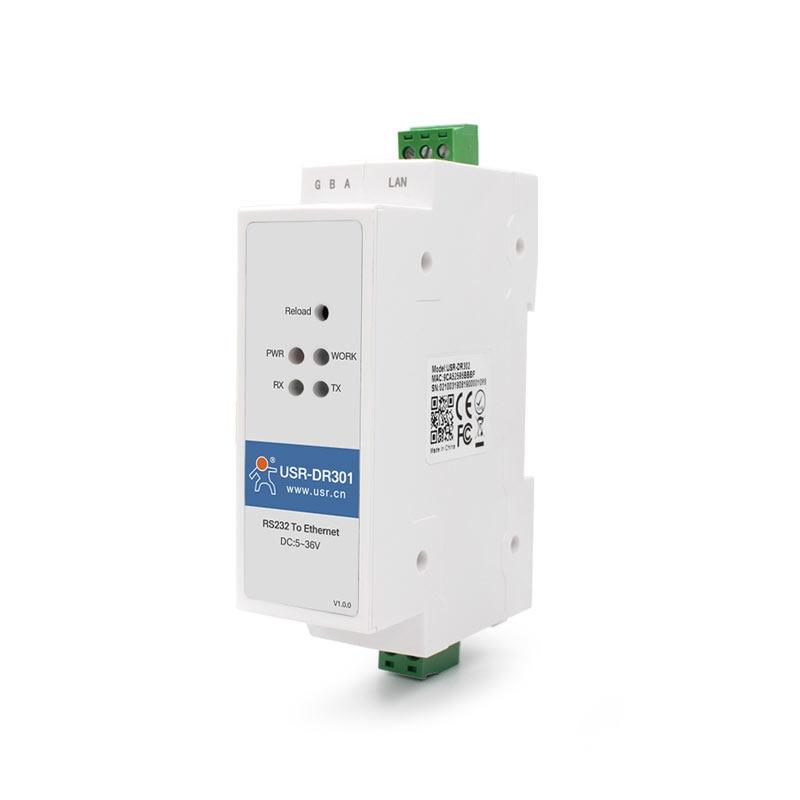 Din Rail Serial RS232 a Ethernet TCP/IP RJ45 módulo servidor convertidor Ethernet Modbus RTU a Modbus unidad TCP (sin adaptador de corriente)