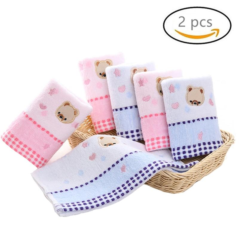 2 Pcs Cute Bear Baby Wipes Washcloth Infant Boys Girls Newborn Towels Kids Children Water Absorbent Soft Cotton Stuff Gifts