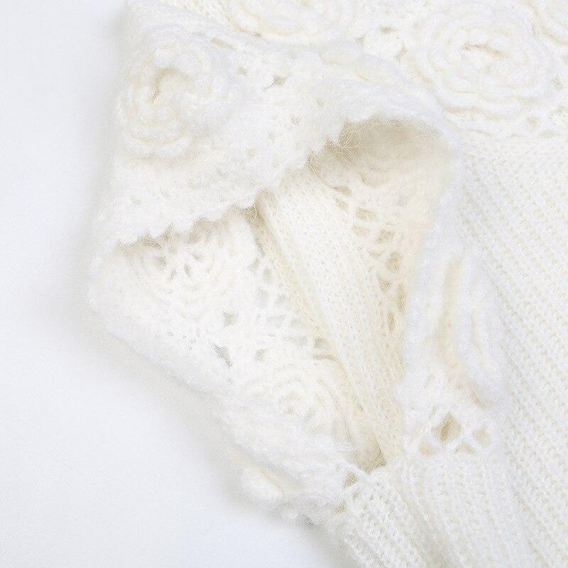 SHUCHAN White Knit Sweater Vest Women Sleeveless  Vintage  Appliques  V-Neck  Floral  Spring/Autumn Tank Top  Sweater enlarge
