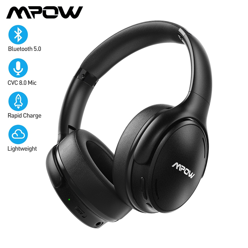 سماعات أذن لاسلكية Mpow H19 IPO مزودة بتقنية البلوتوث ANC سماعات أذن بخاصية إلغاء الضوضاء النشطة مع حقيبة للحمل لهواتف هواوي آيفون جالاكسي